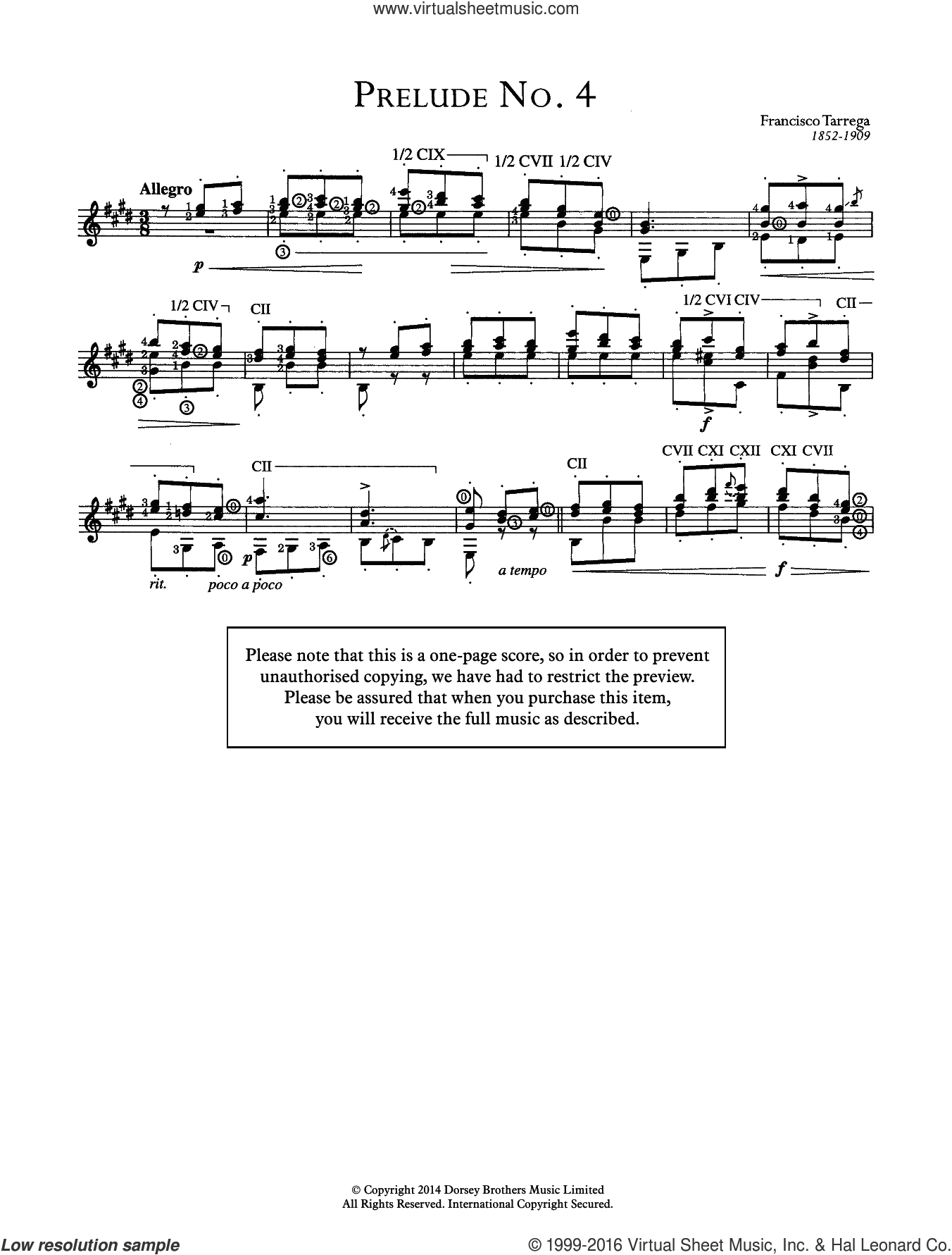 Prelude No.4 sheet music for guitar solo (chords) by Francisco Tarrega. Score Image Preview.
