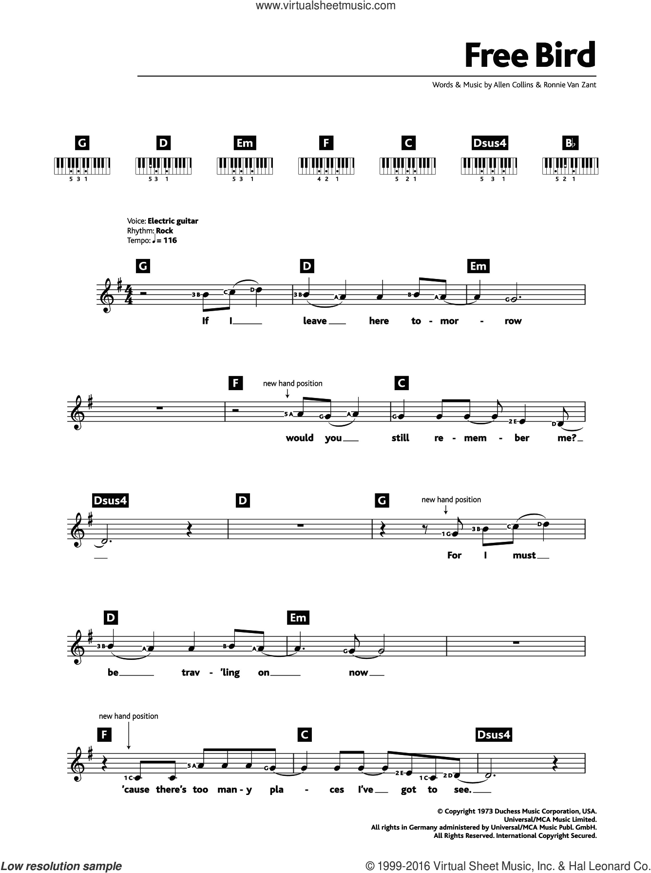 Free Bird sheet music for piano solo (chords, lyrics, melody) by Lynyrd Skynyrd and Ronnie Van Zant. Score Image Preview.