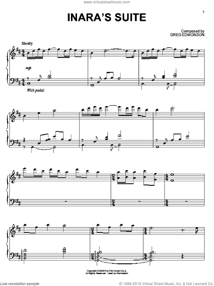 Inara's Suite sheet music for piano solo by Greg Edmonson, Firefly (TV Series) and Joss Whedon, intermediate skill level