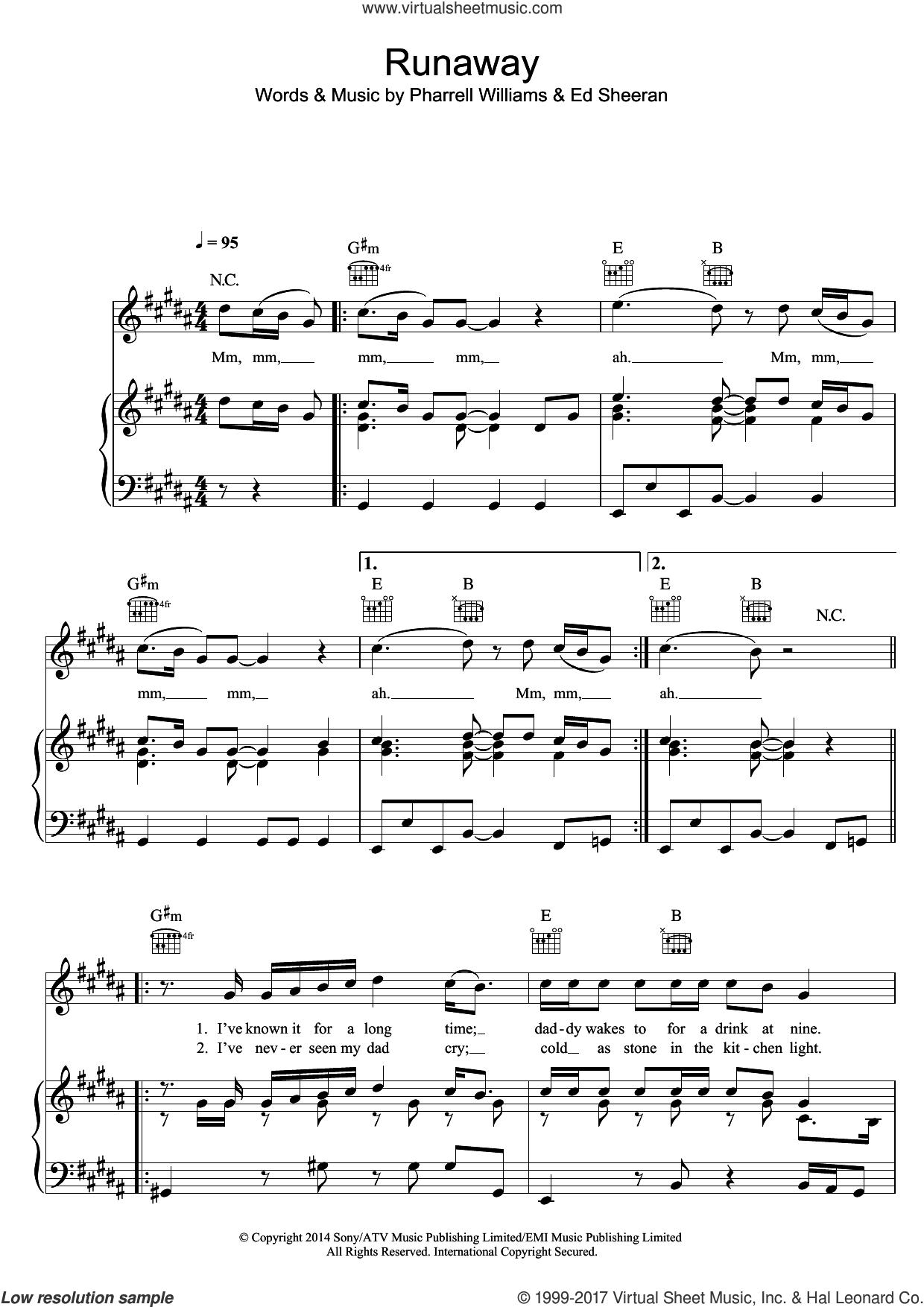 Runaway sheet music for voice, piano or guitar by Ed Sheeran and Pharrell Williams, intermediate skill level