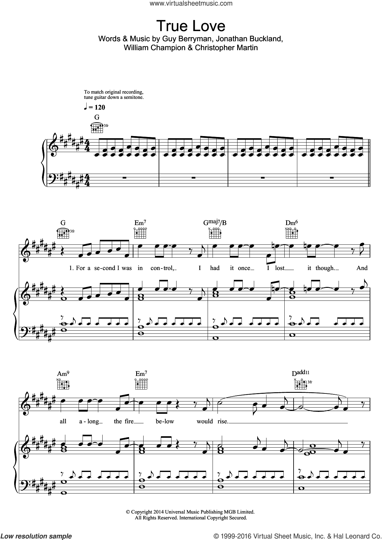 True Love sheet music for voice, piano or guitar by Coldplay, Christopher Martin, Guy Berryman, Jonathan Buckland and William Champion, intermediate skill level