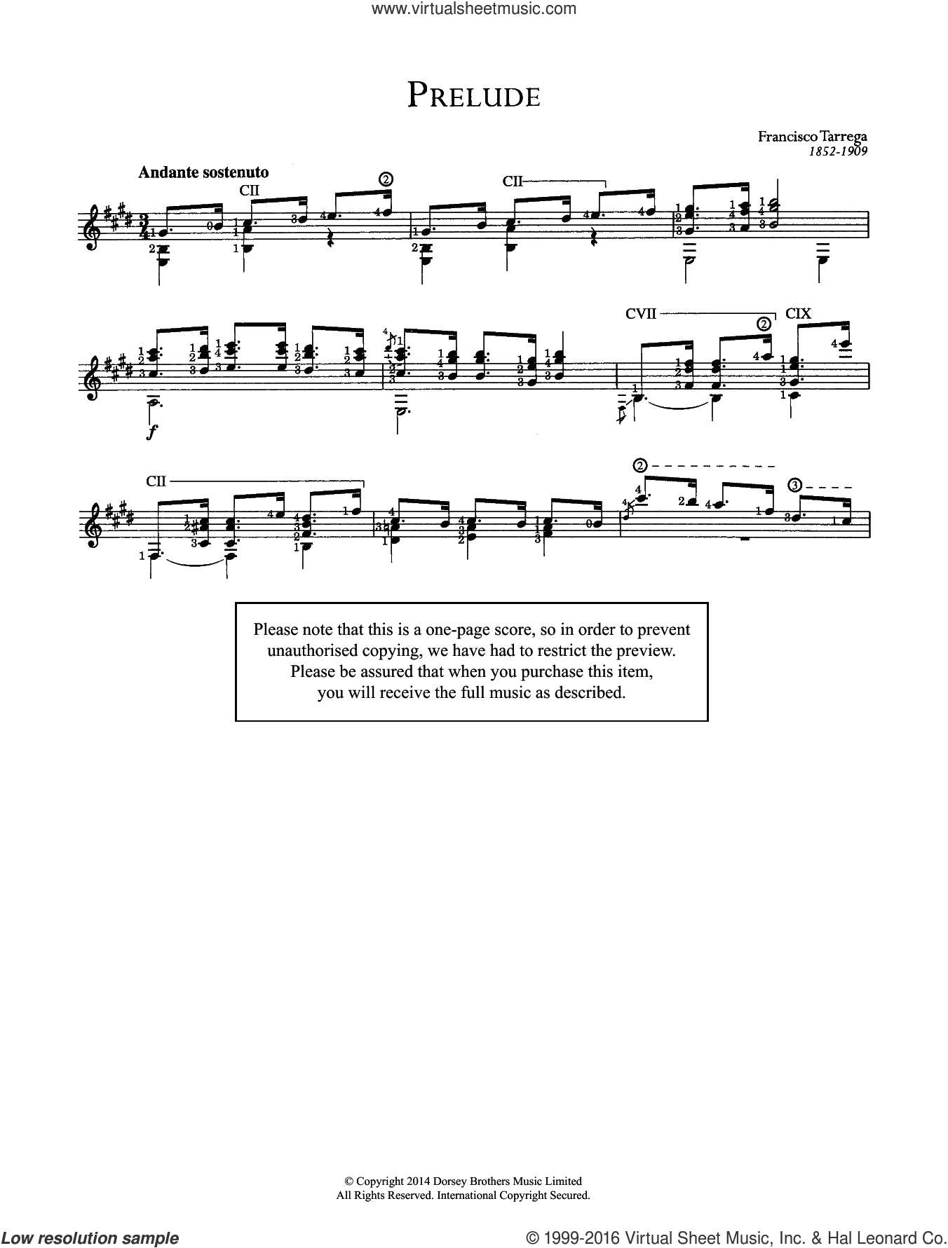 Prelude sheet music for guitar solo (chords) by Francisco Tarrega, classical score, easy guitar (chords)
