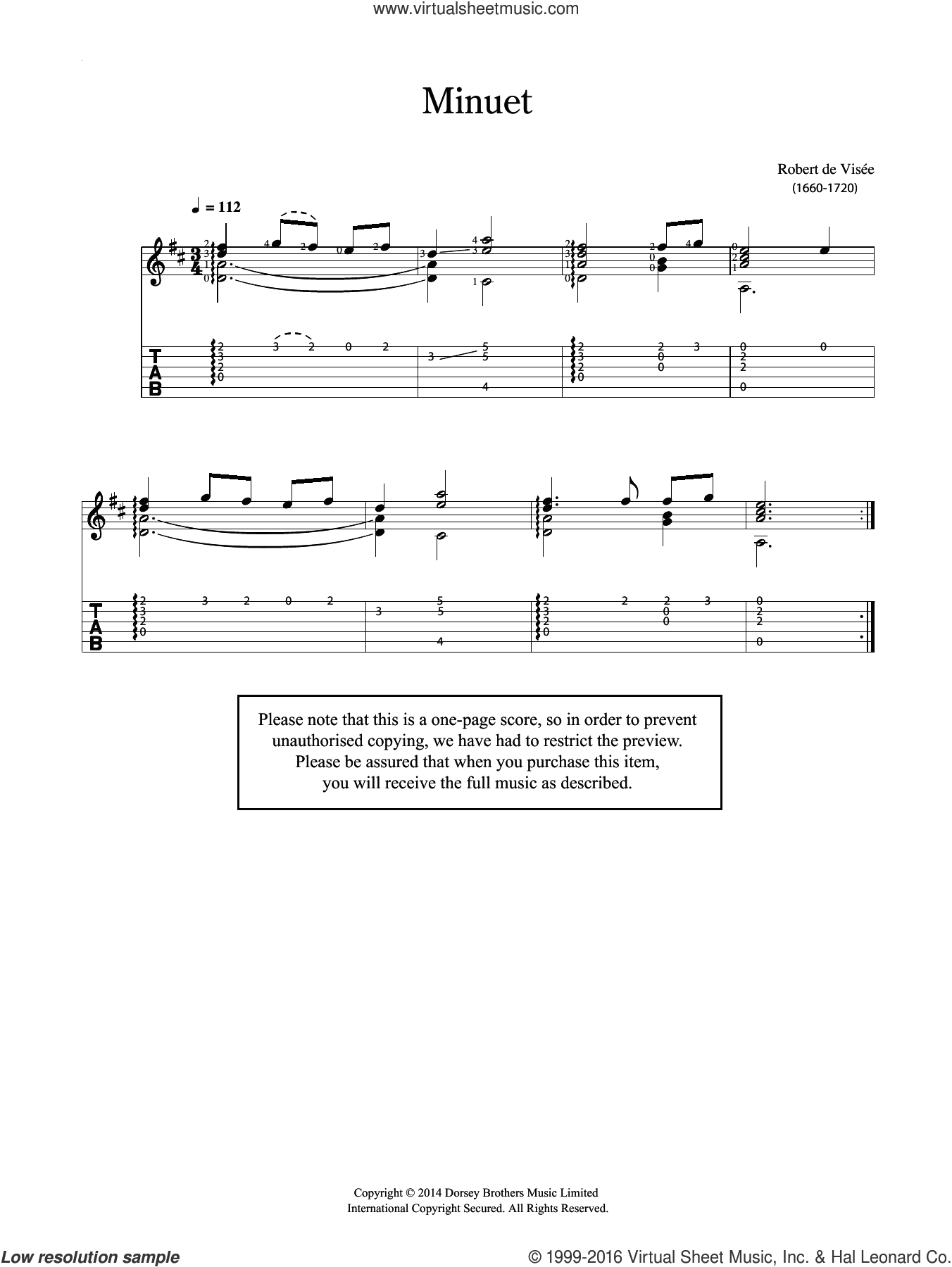 Minuet sheet music for guitar solo (chords) by Robert Visee. Score Image Preview.