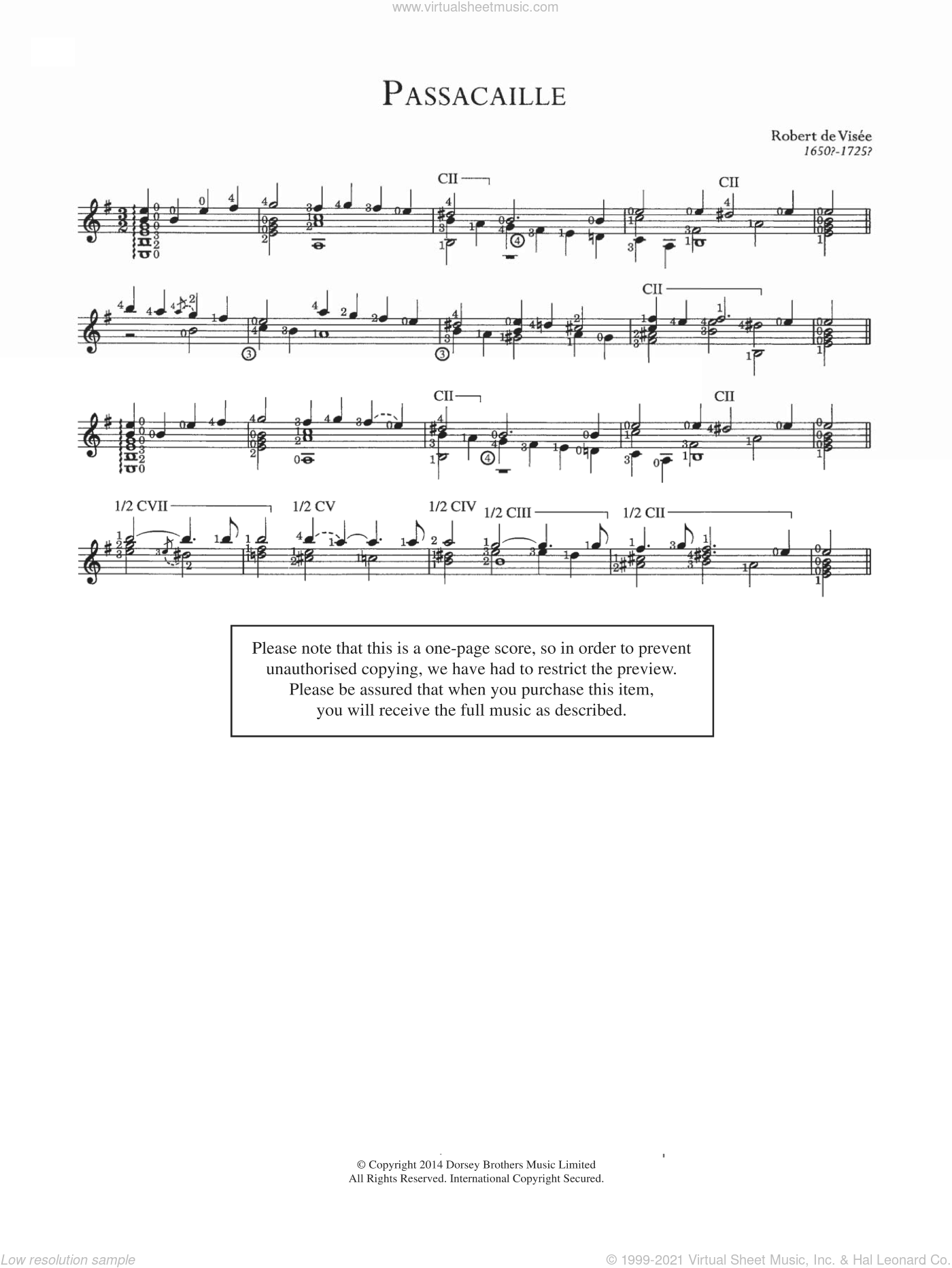 Passacaille sheet music for guitar solo (chords) by Robert Visee. Score Image Preview.