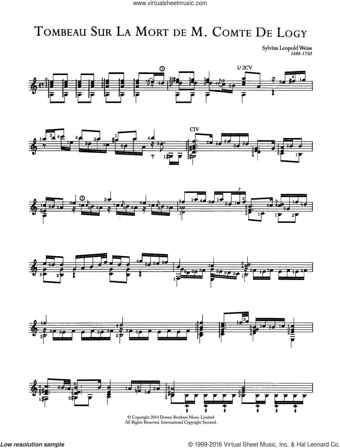Tombeau Sur La Mort De M. Comte De Logy sheet music for guitar solo (chords) by Sylvius Leopold Weiss, classical score, easy guitar (chords). Score Image Preview.