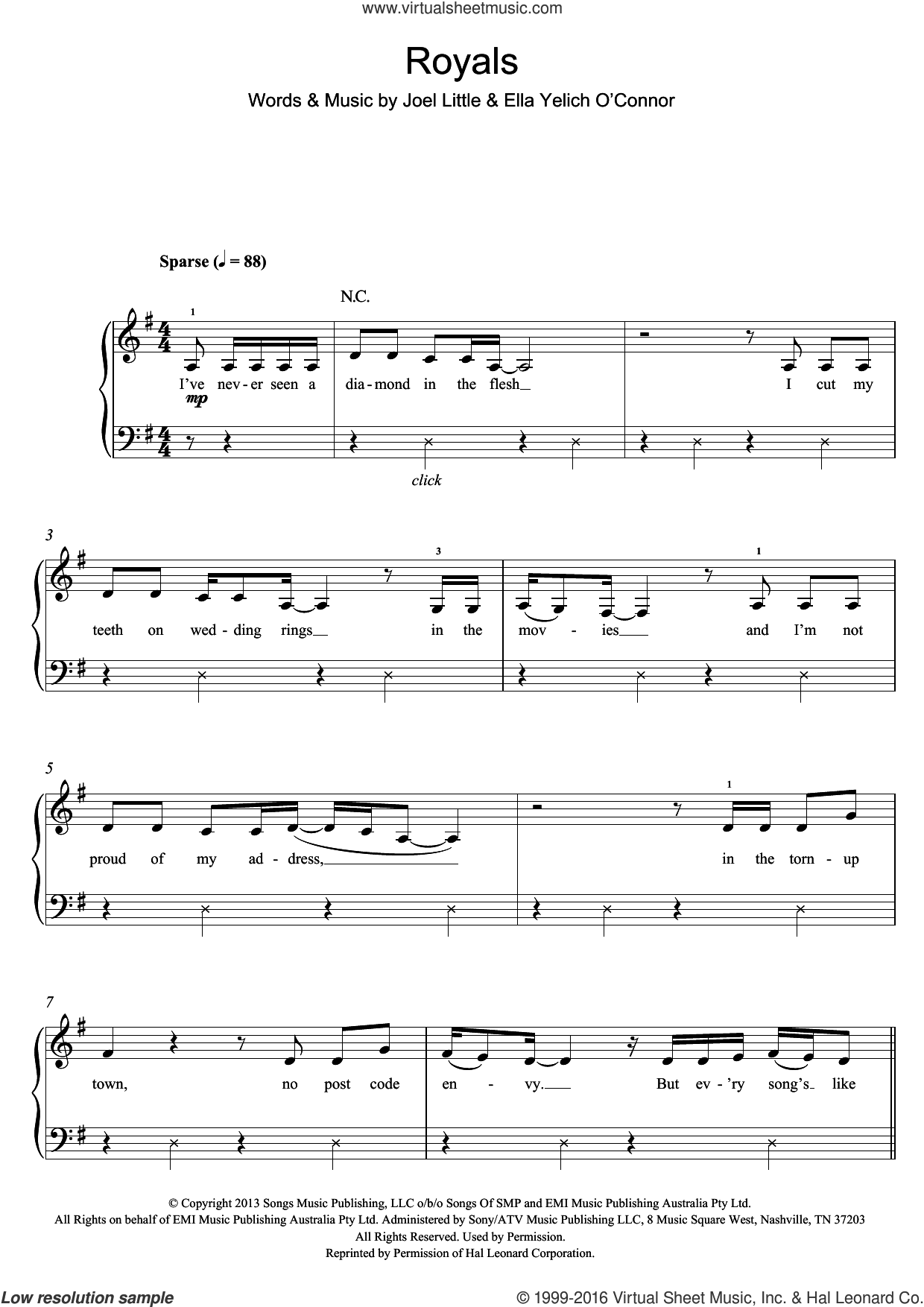 Royals sheet music for piano solo by Ella Yelich O'Connor, Lorde and Joel Little. Score Image Preview.