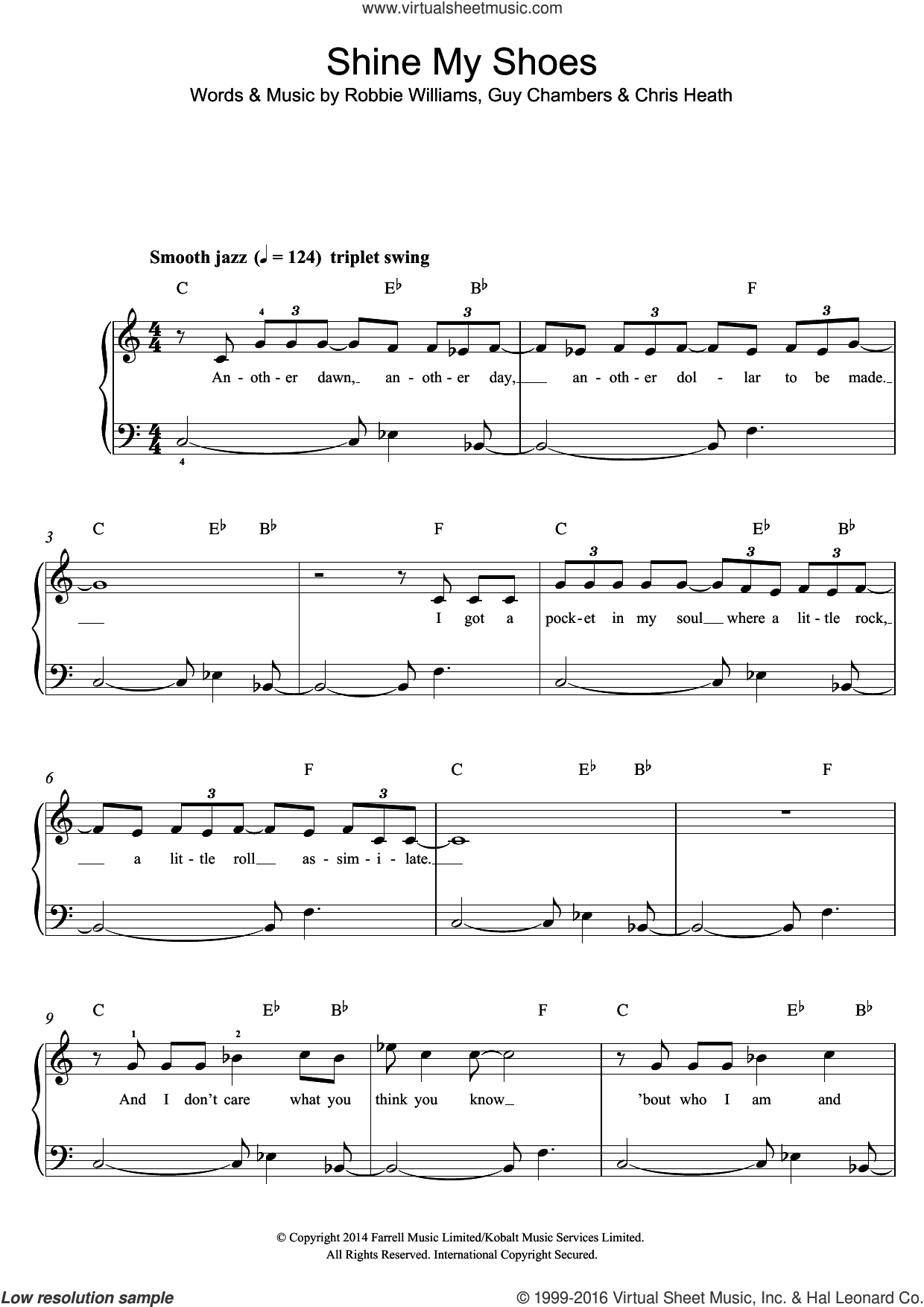Shine My Shoes sheet music for piano solo by Robbie Williams, easy. Score Image Preview.