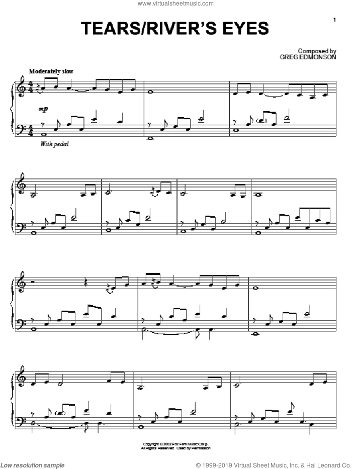 Tears/River's Eyes sheet music for piano solo by Greg Edmonson, Firefly (TV Series) and Joss Whedon, intermediate skill level