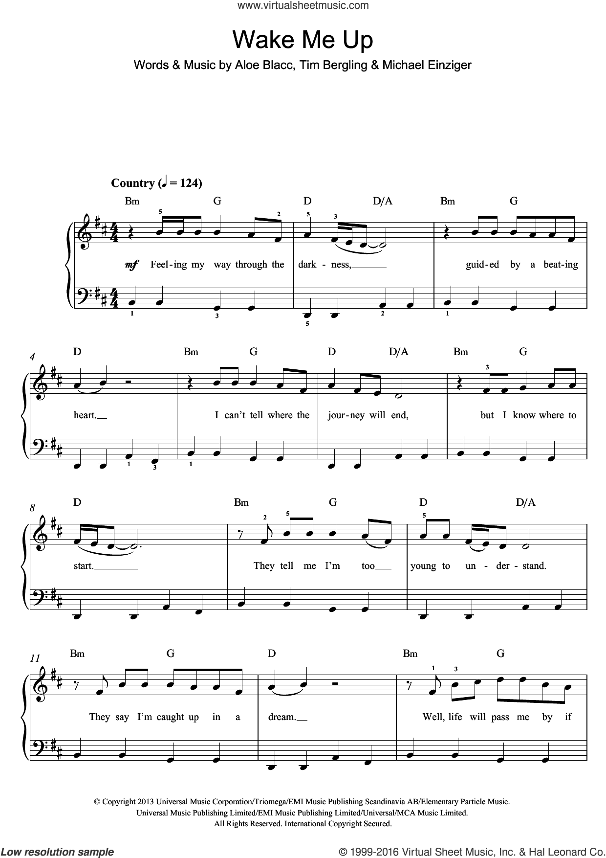 Wake Me Up sheet music for piano solo by Aloe Blacc, Avicii, Michael Einziger and Tim Bergling. Score Image Preview.