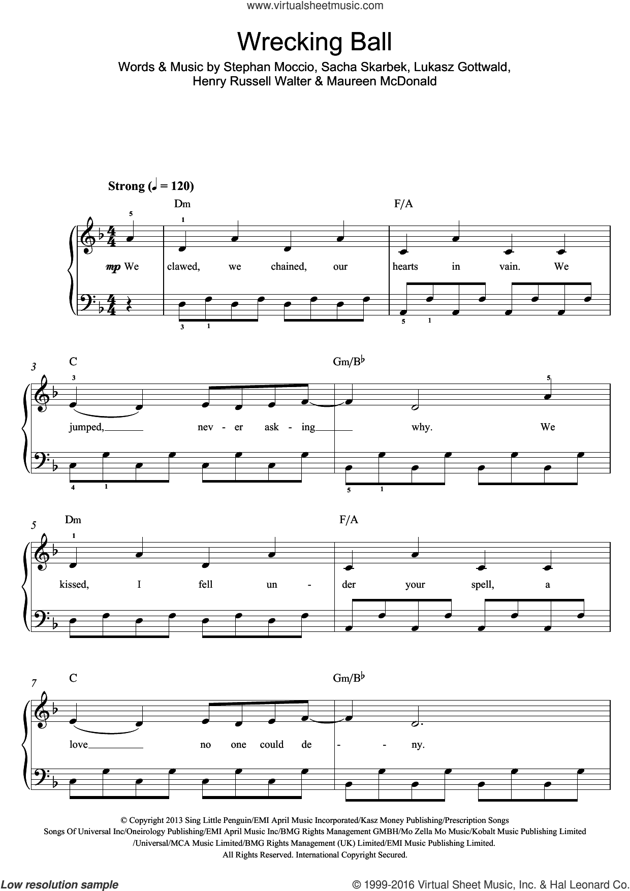 Wrecking Ball sheet music for piano solo (beginners) by Miley Cyrus, Henry Russell Walter, Lukasz Gottwald, Maureen McDonald, Sacha Skarbek and Stephan Moccio, beginner piano (beginners)