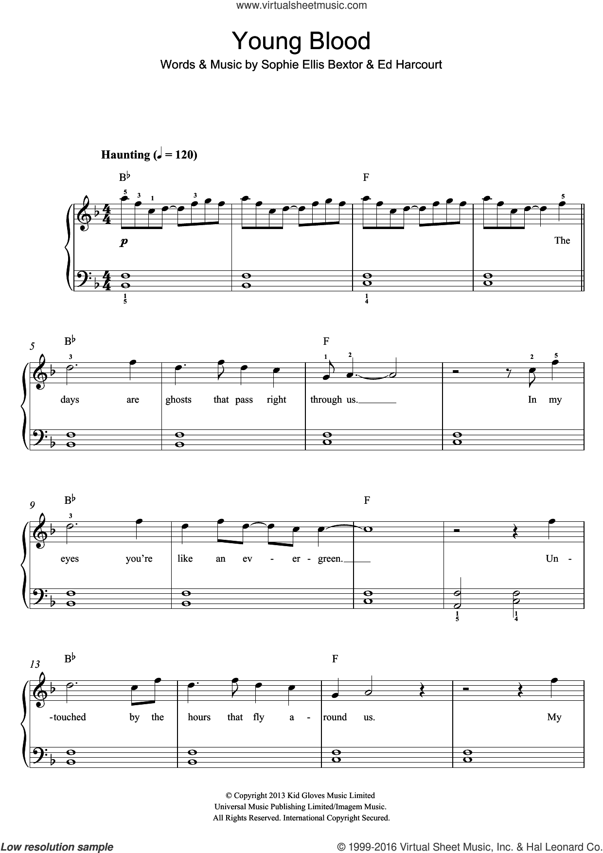 Young Blood sheet music for piano solo by Sophie Ellis-Bextor and Sophie Ellis Bextor, easy. Score Image Preview.