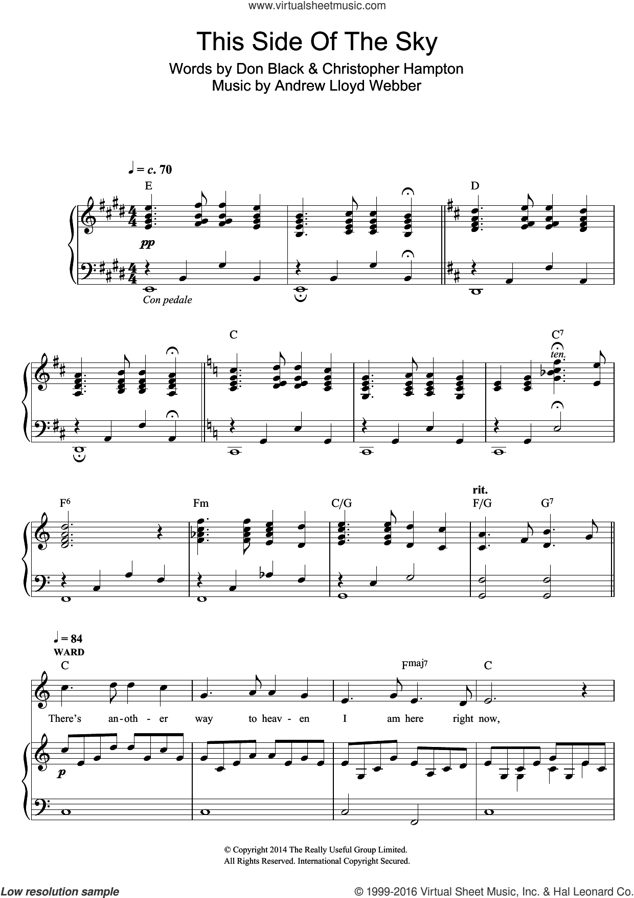 This Side Of The Sky (from 'Stpehen Ward') sheet music for voice and piano by Andrew Lloyd Webber and Don Black. Score Image Preview.