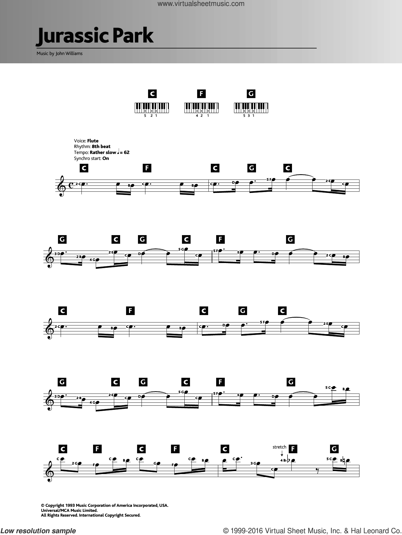 Theme from Jurassic Park sheet music for piano solo (chords, lyrics, melody) by John Williams. Score Image Preview.