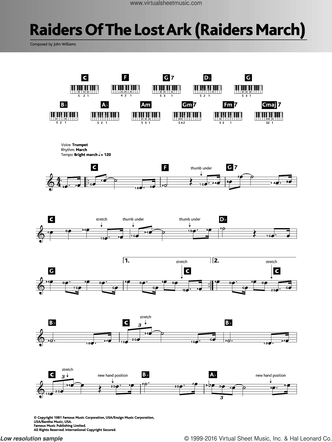 Raiders March (from Raiders Of The Lost Ark) sheet music for piano solo (chords, lyrics, melody) by John Williams, intermediate piano (chords, lyrics, melody)