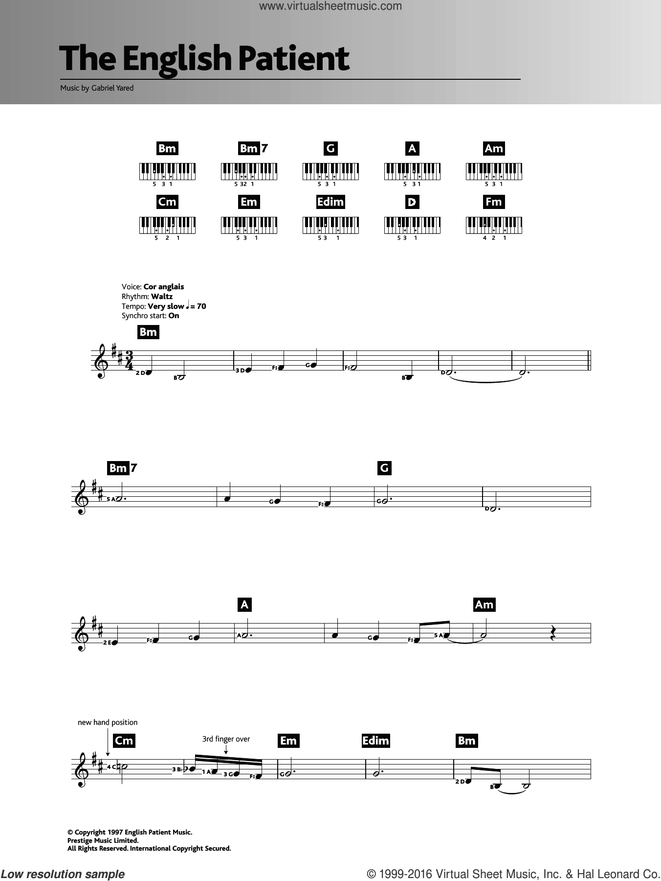 The English Patient sheet music for piano solo (chords, lyrics, melody) by Gabriel Yared, intermediate piano (chords, lyrics, melody)