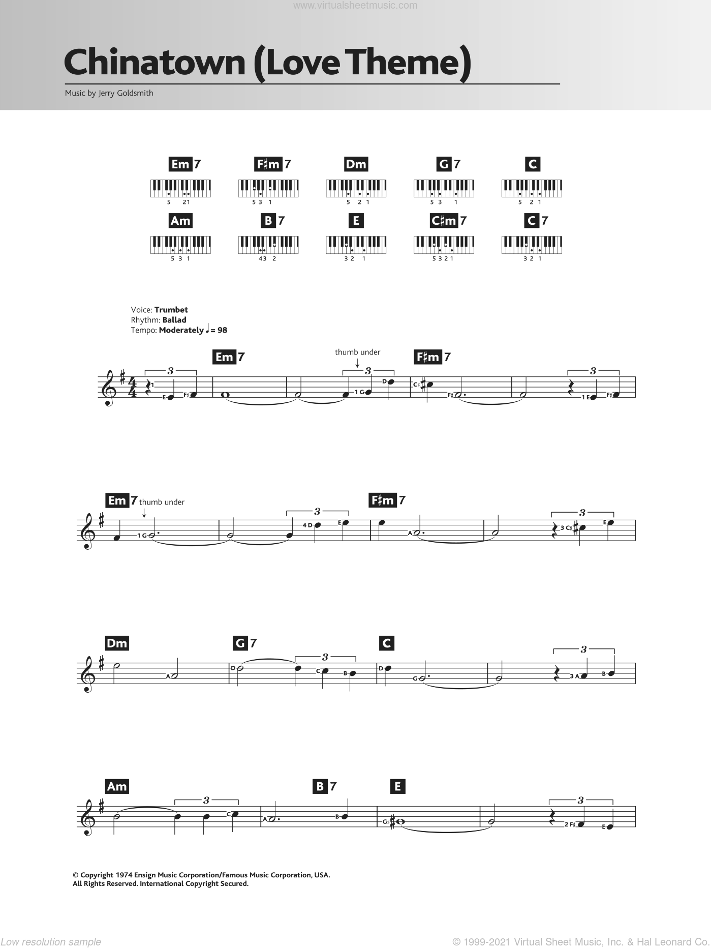 Chinatown (Love Theme/Jake And Evelyn) sheet music for piano solo (chords, lyrics, melody) by Jerry Goldsmith. Score Image Preview.