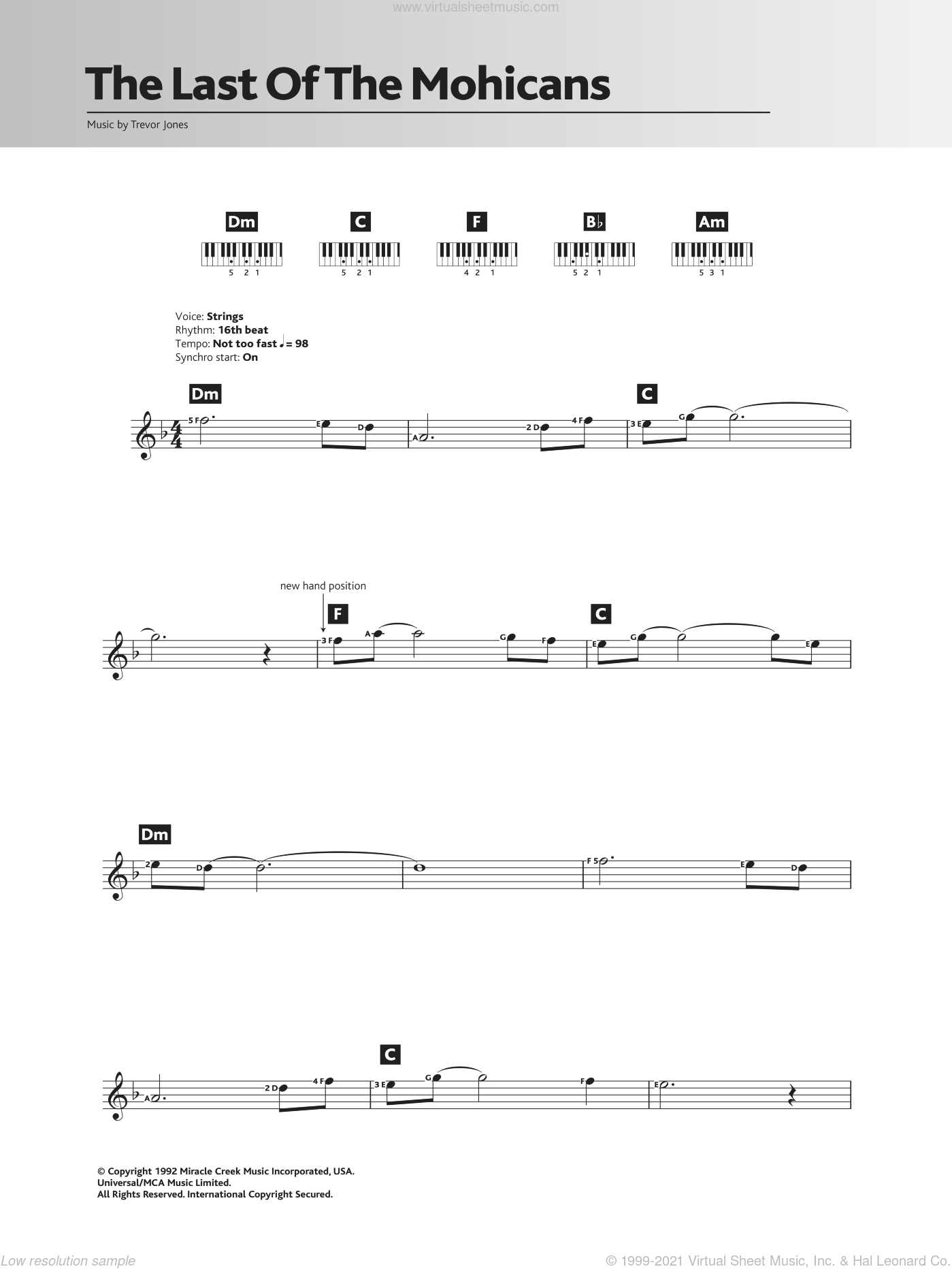 The Last Of The Mohicans (Main Title) sheet music for piano solo (chords, lyrics, melody) by Trevor Jones, intermediate piano (chords, lyrics, melody)