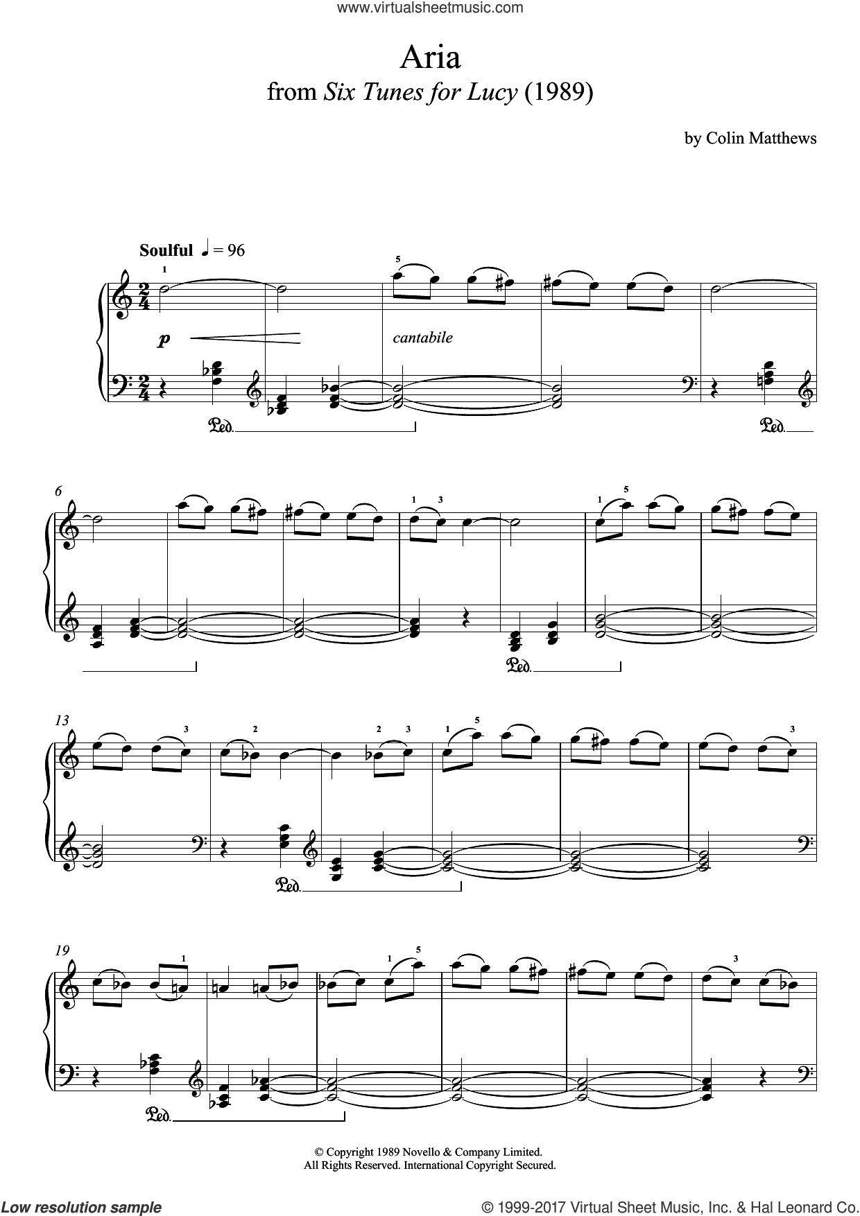 Aria (From Six Tunes For Lucy) sheet music for piano solo by Colin Matthews, classical score, intermediate. Score Image Preview.