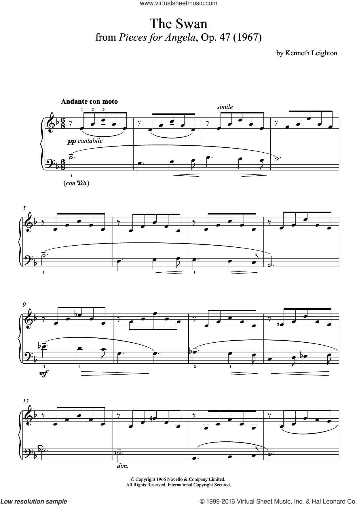 The Swan (From Pieces For Angela) sheet music for piano solo by Kenneth Leighton. Score Image Preview.