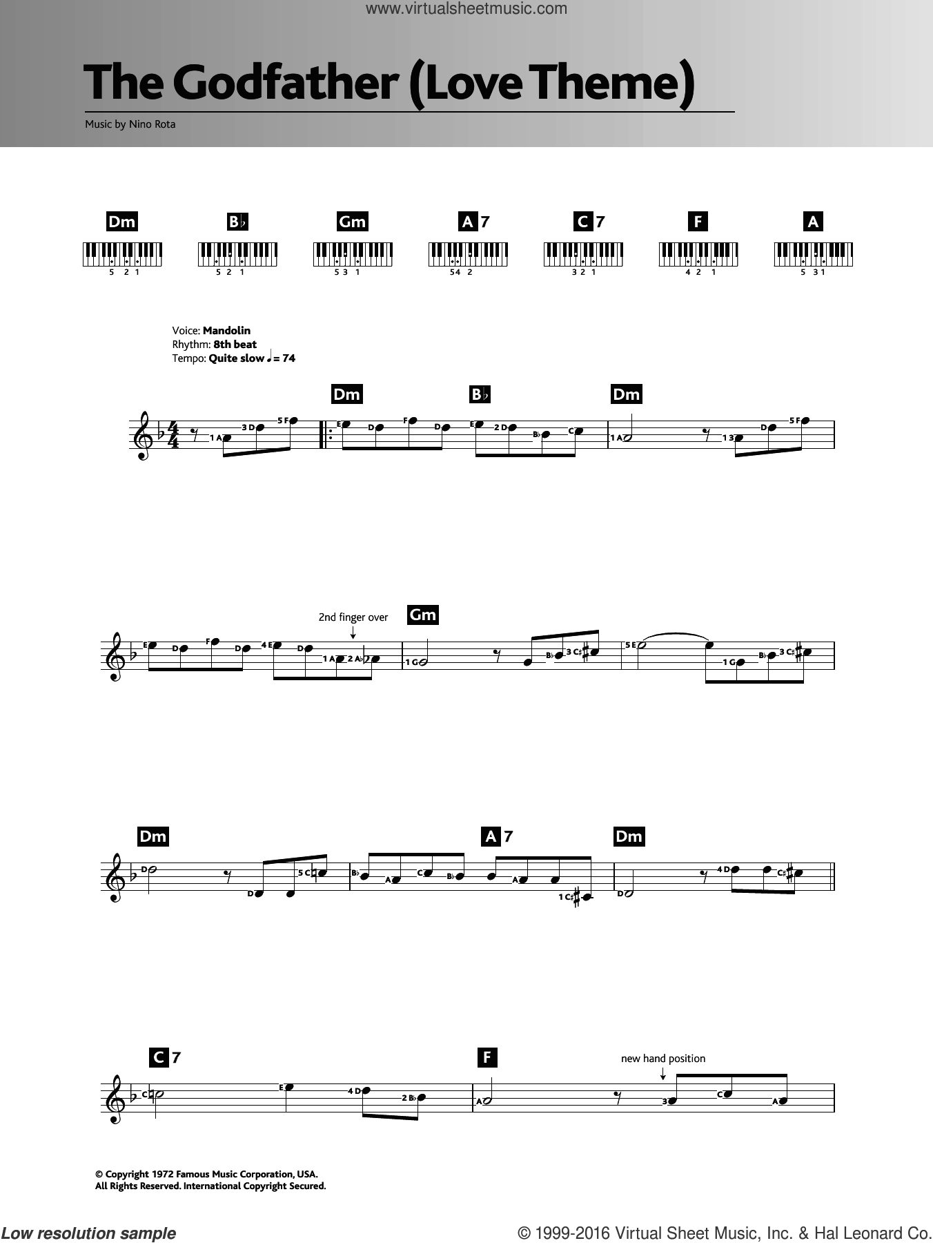 Speak Softly Love (Godfather Theme) sheet music for piano solo (chords, lyrics, melody) by Nino Rota. Score Image Preview.