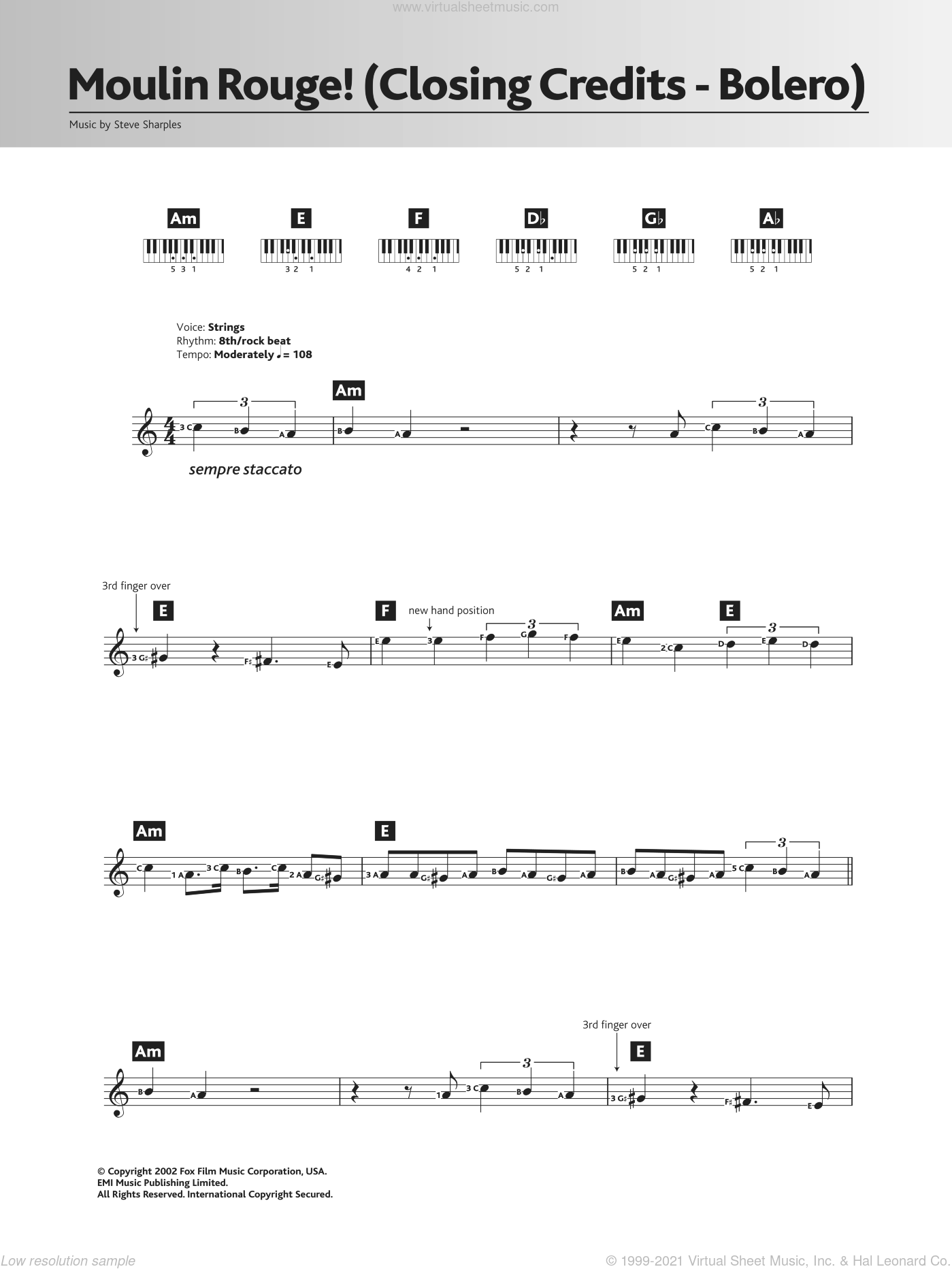 Bolero (Closing Credits from 'Moulin Rouge') sheet music for piano solo (chords, lyrics, melody) by Steve Sharples
