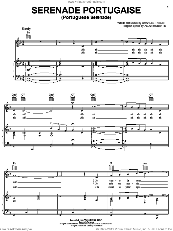 Serenade Portugaise sheet music for voice, piano or guitar by Charles Trenet, intermediate voice, piano or guitar. Score Image Preview.