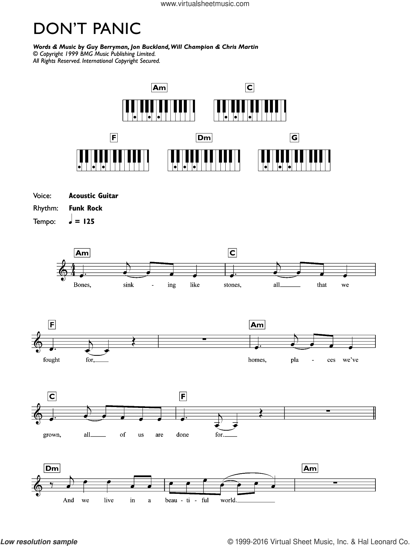 Don't Panic sheet music for piano solo (chords, lyrics, melody) by Coldplay, Chris Martin, Guy Berryman, Jon Buckland and Will Champion, intermediate piano (chords, lyrics, melody)