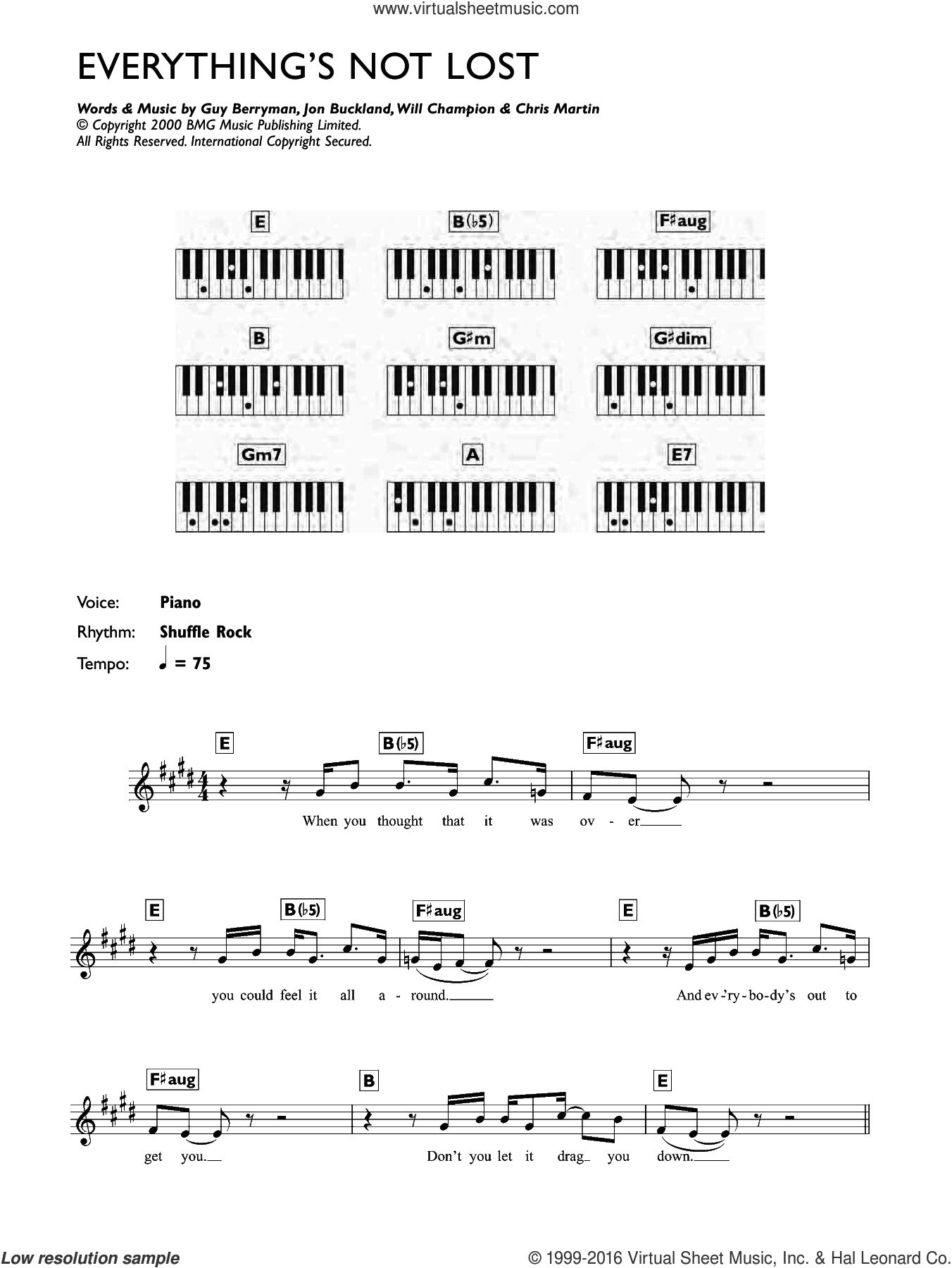 Everything's Not Lost sheet music for piano solo (chords, lyrics, melody) by Coldplay, intermediate piano (chords, lyrics, melody). Score Image Preview.