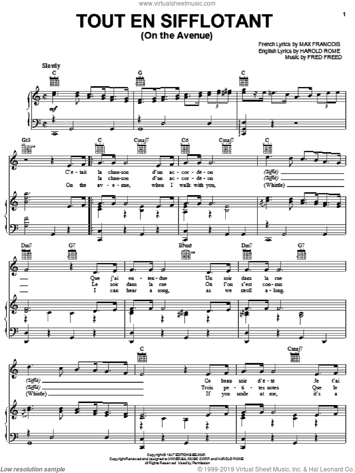 Tout En Sifflotant (On The Avenue) sheet music for voice, piano or guitar by Max Francois