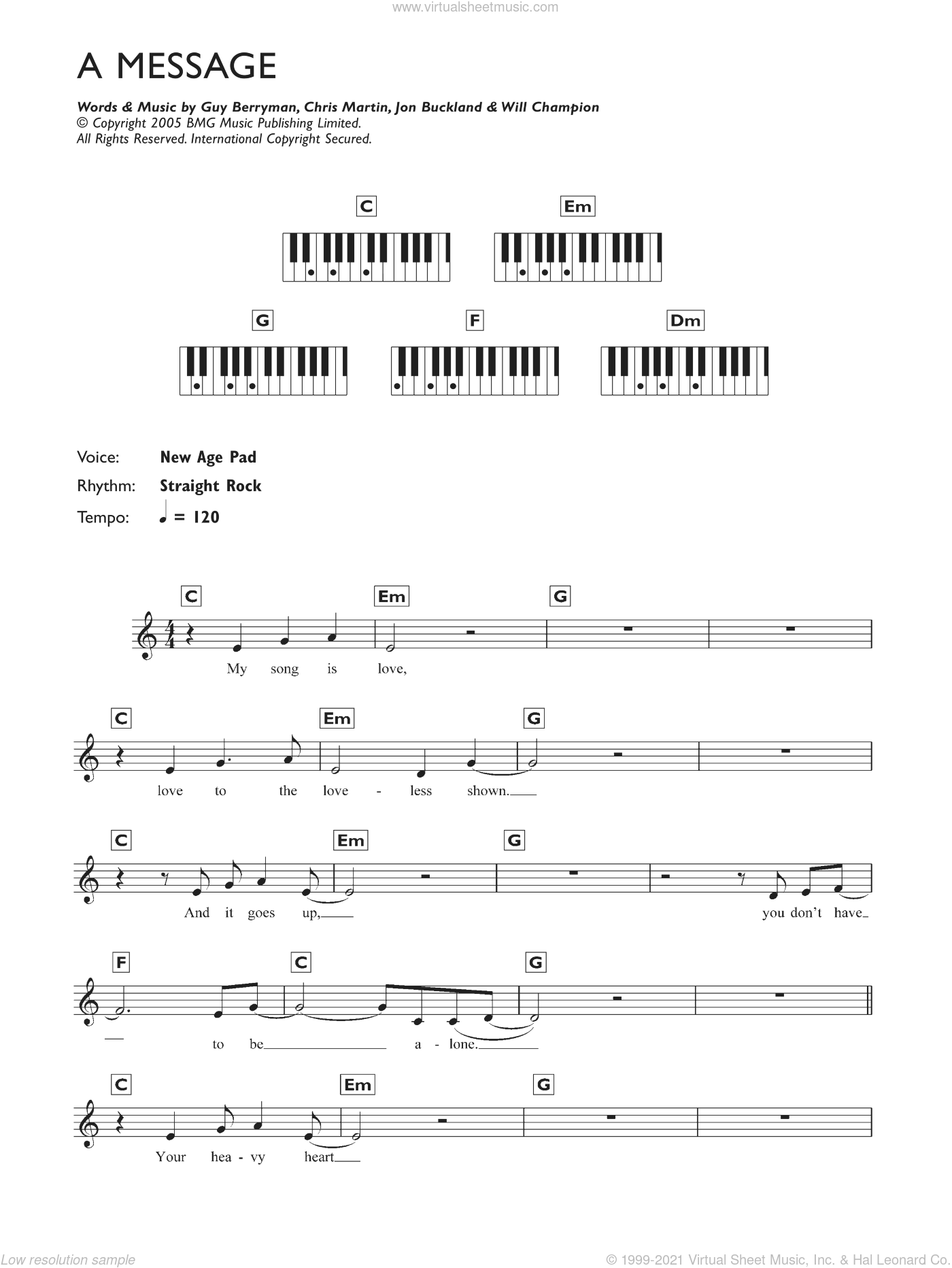 A Message sheet music for piano solo (chords, lyrics, melody) by Chris Martin