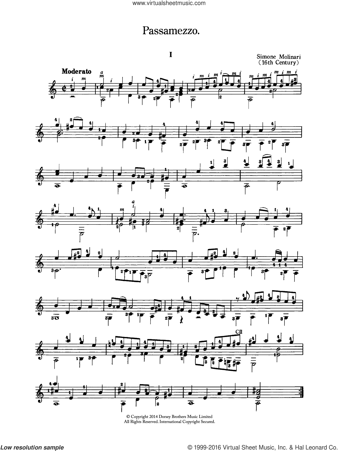 Passamezzo sheet music for guitar solo (chords) by Simone Molinari, classical score, easy guitar (chords). Score Image Preview.