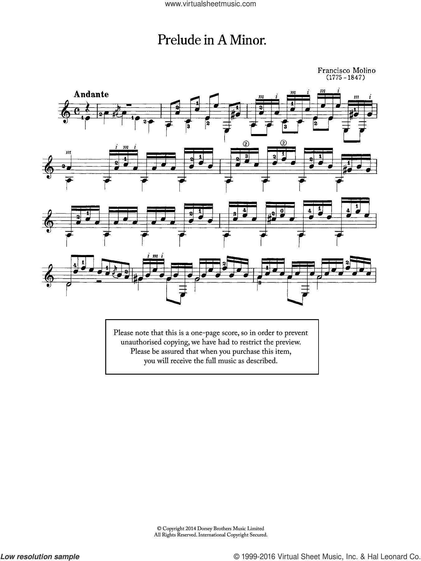 Prelude In A Minor sheet music for guitar solo (chords) by Francesco Molino, classical score, easy guitar (chords). Score Image Preview.
