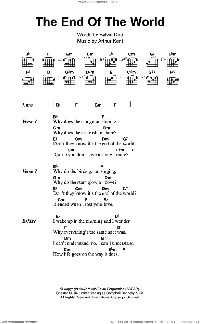 The End Of The World sheet music for guitar (chords) by Skeeter Davis, Susan Boyle, Arthur Kent and Sylvia Dee, intermediate