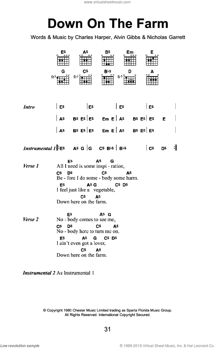 Down On The Farm sheet music for guitar (chords) by Alvin Gibbs