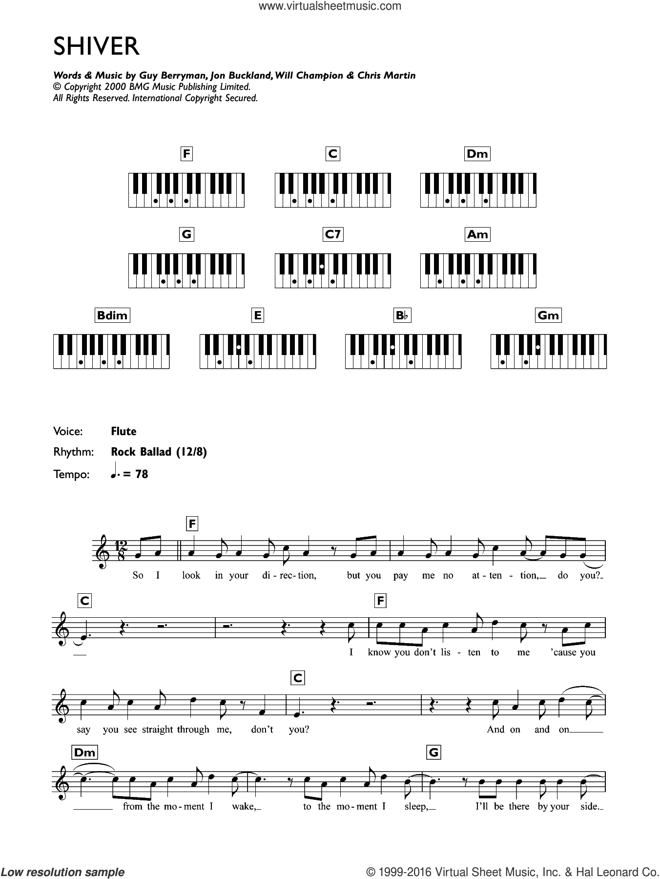 Shiver sheet music for piano solo (chords, lyrics, melody) by Coldplay, Chris Martin, Guy Berryman, Jon Buckland and Will Champion, intermediate piano (chords, lyrics, melody)