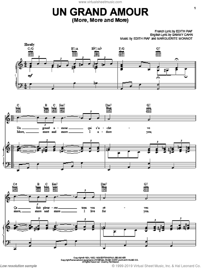 Un Grand Amour (More, More and More) sheet music for voice, piano or guitar by Edith Piaf, Marguerite Monnot and Sammy Cahn, intermediate skill level