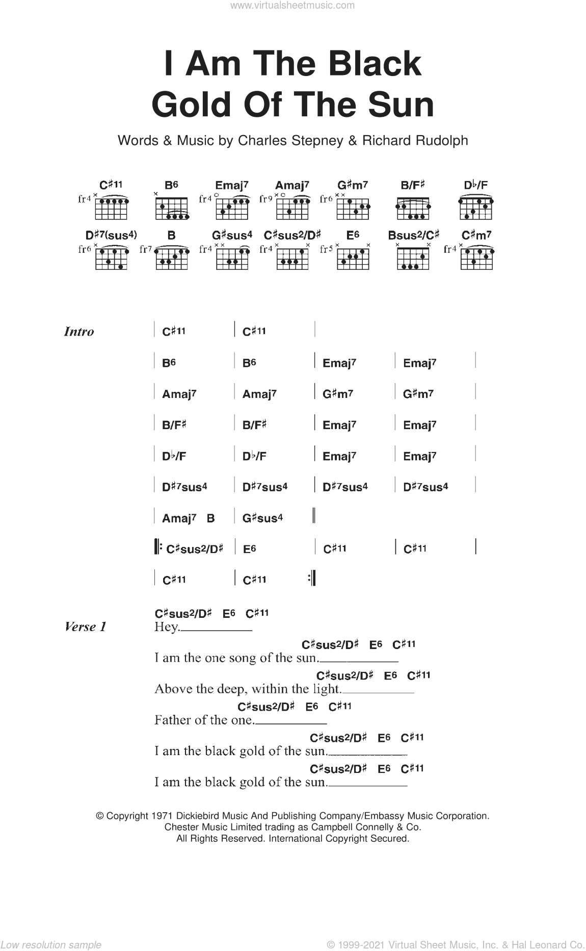 I Am The Black Gold Of The Sun sheet music for guitar (chords) by Rotary Connection, Charles Stepney and Richard Rudolph, intermediate skill level
