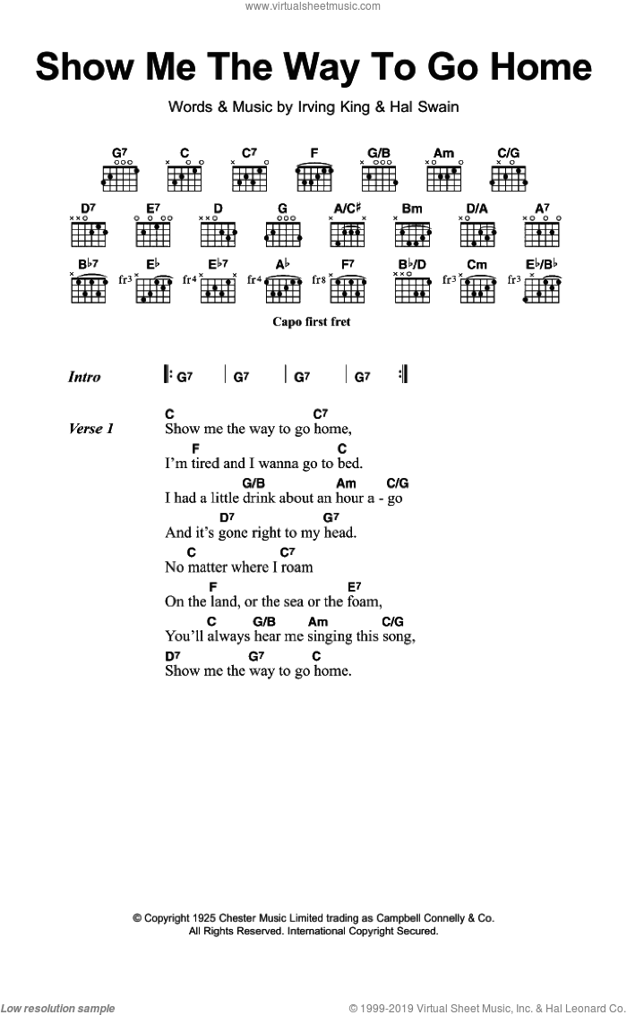Show Me The Way To Go Home sheet music for guitar (chords) by Irving King and Hal Swain, intermediate skill level