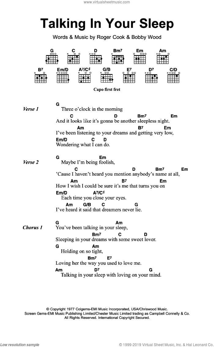 Talking In Your Sleep sheet music for guitar (chords) by Crystal Gayle, Reba McEntire, Bobby Wood and Roger Cook, intermediate guitar (chords). Score Image Preview.