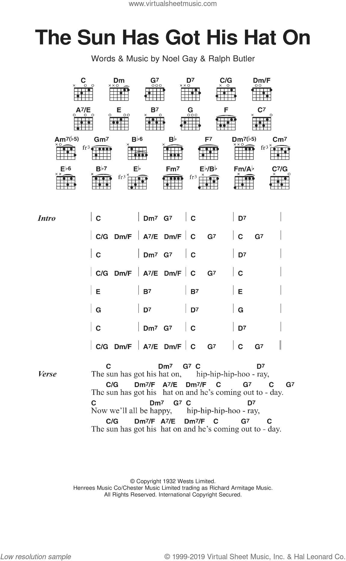 The Sun Has Got His Hat On sheet music for guitar (chords) by Noel Gay and Ralph Butler, classical score, intermediate guitar (chords). Score Image Preview.