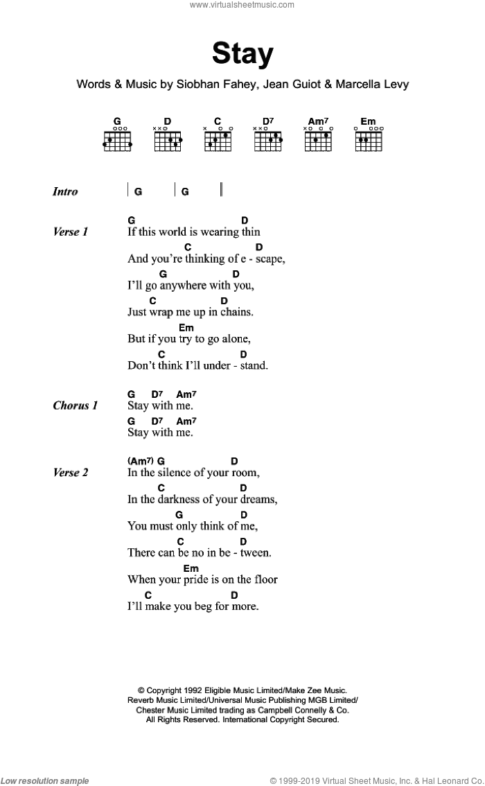 Stay sheet music for guitar (chords) by Shakespear's Sister, intermediate guitar (chords). Score Image Preview.