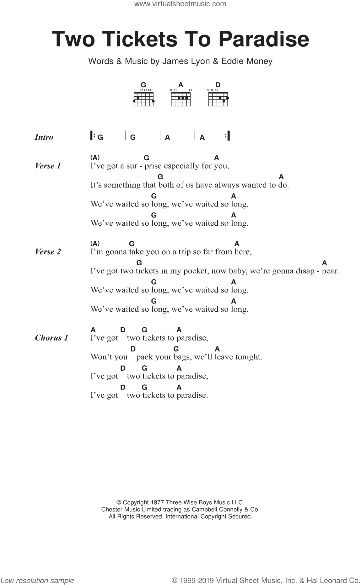 Two Tickets To Paradise sheet music for guitar (chords) by Eddie Money and James Lyon, intermediate