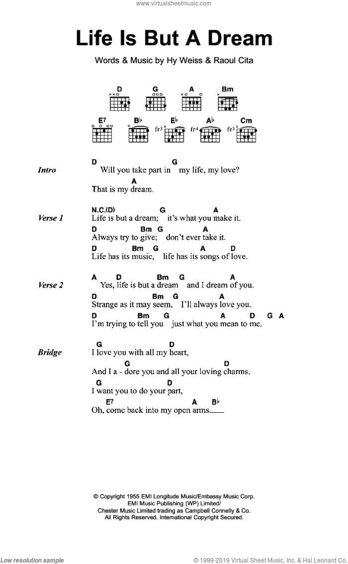 Life Is But A Dream sheet music for guitar (chords) by The Earls, Hy Weiss and Raoul Cita, intermediate skill level