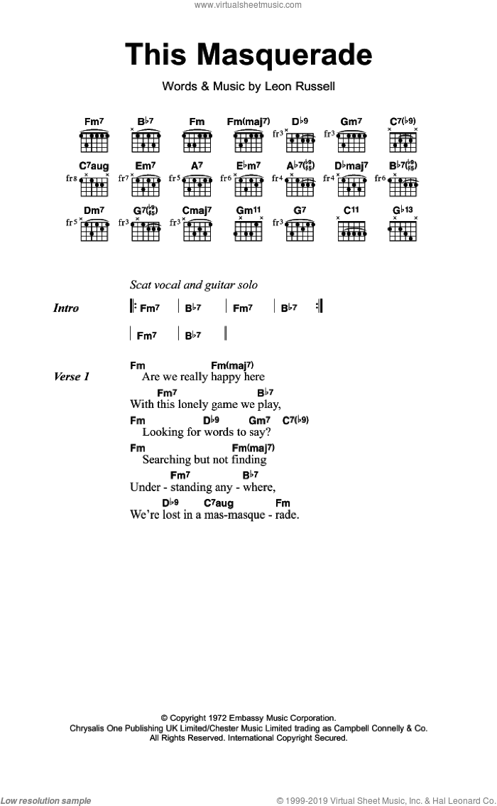 This Masquerade sheet music for guitar (chords) by Leon Russell and George Benson. Score Image Preview.