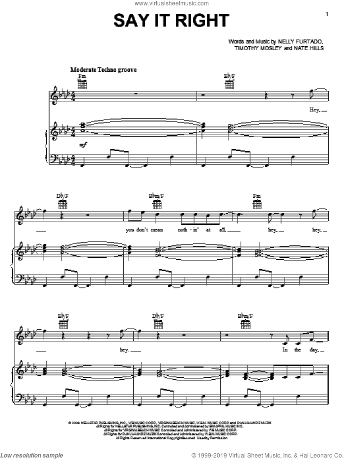 Say It Right sheet music for voice, piano or guitar by Tim Mosley