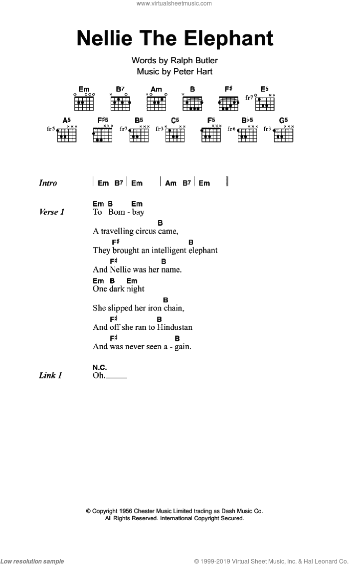 Nellie The Elephant sheet music for guitar (chords) by Peter Hart and Ralph Butler. Score Image Preview.