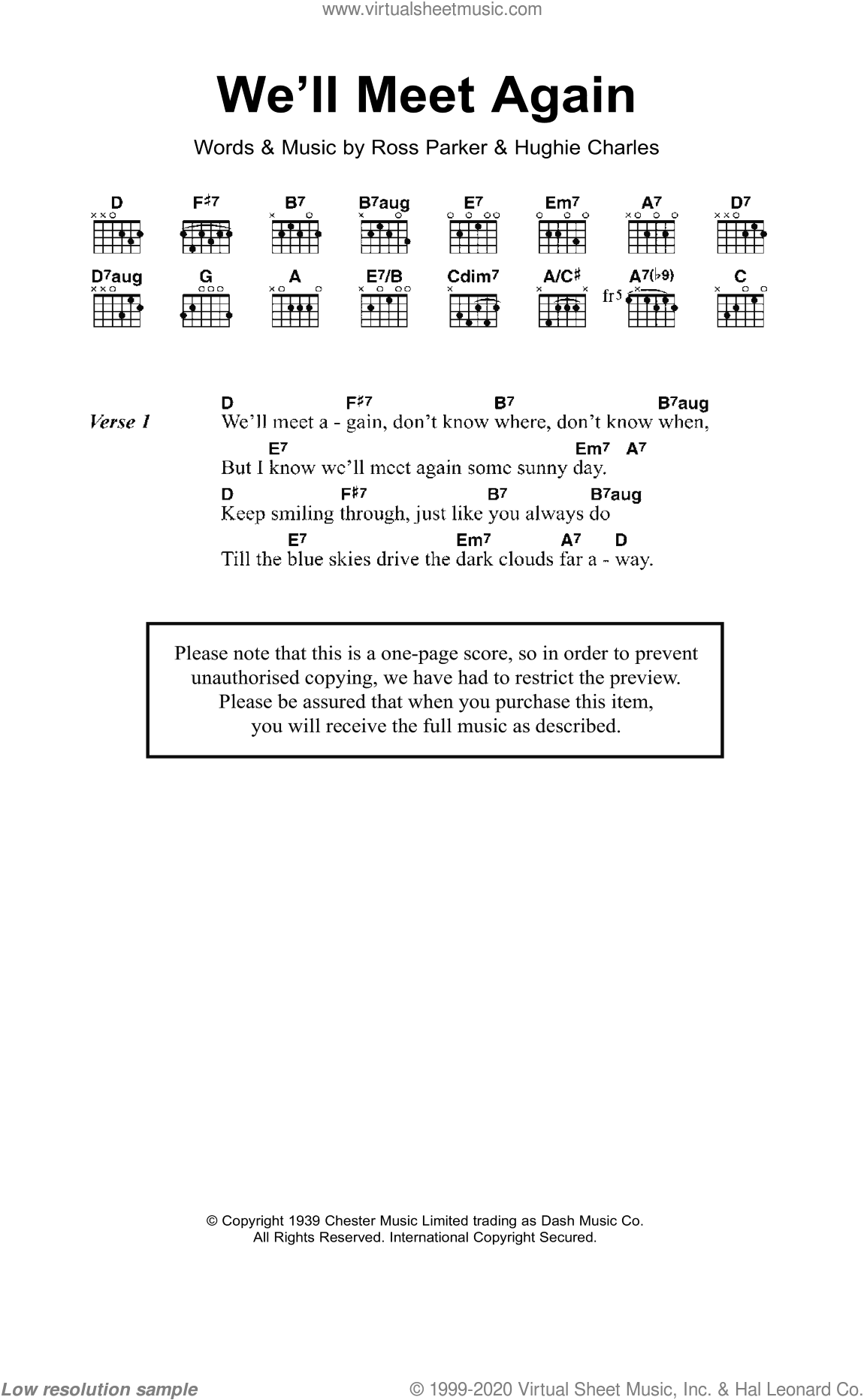 We'll Meet Again sheet music for guitar (chords) by Hughie Charles and Ross Parker. Score Image Preview.