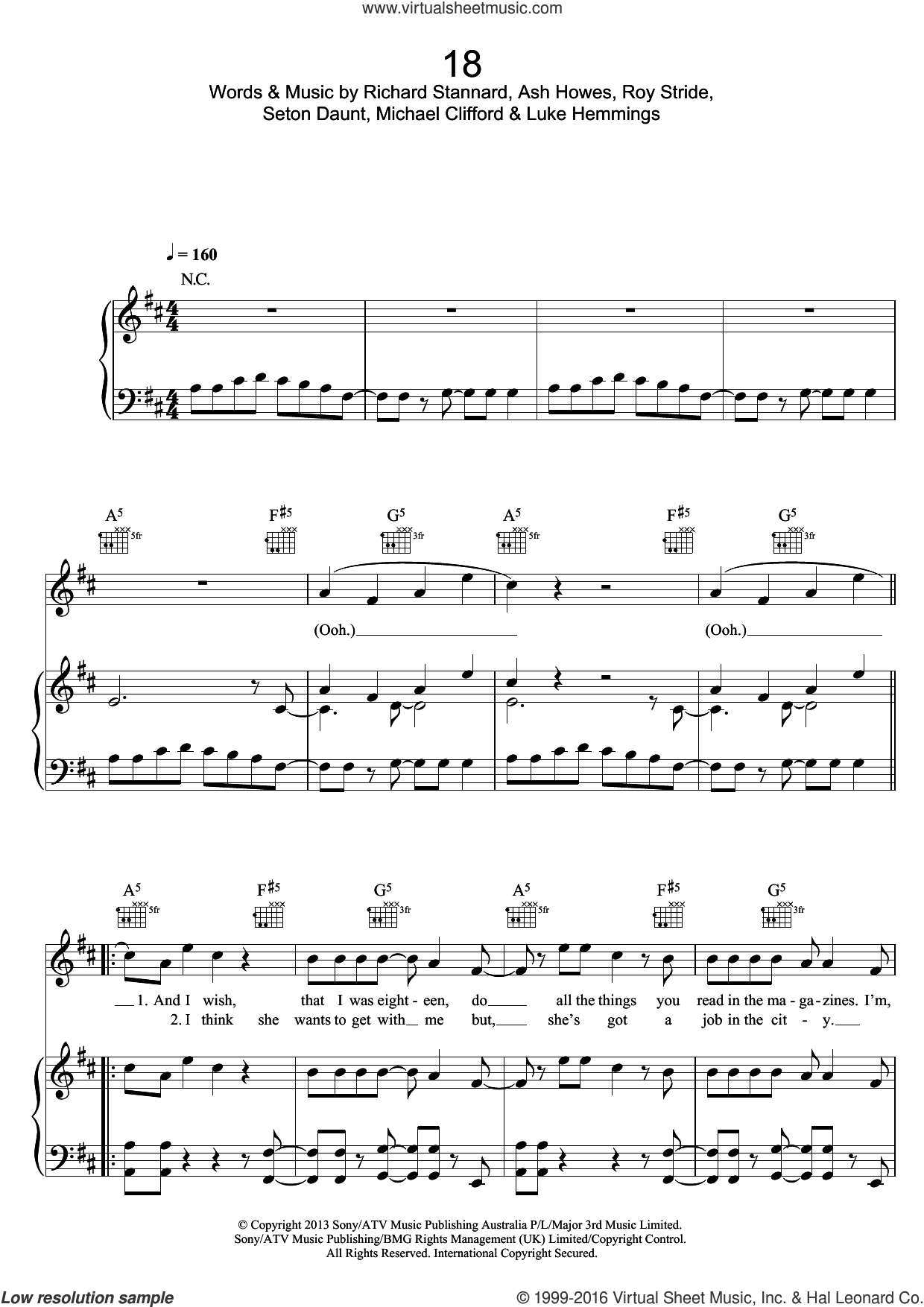 18 sheet music for voice, piano or guitar by Ash Howes, Luke Hemmings, Michael Clifford, Richard Stannard, Roy Stride and Seton Daunt. Score Image Preview.