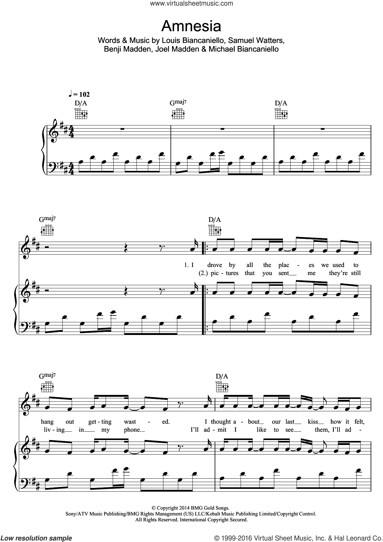Amnesia sheet music for voice, piano or guitar by Benji Madden, Joel Madden, Louis Biancaniello and Sam Watters. Score Image Preview.