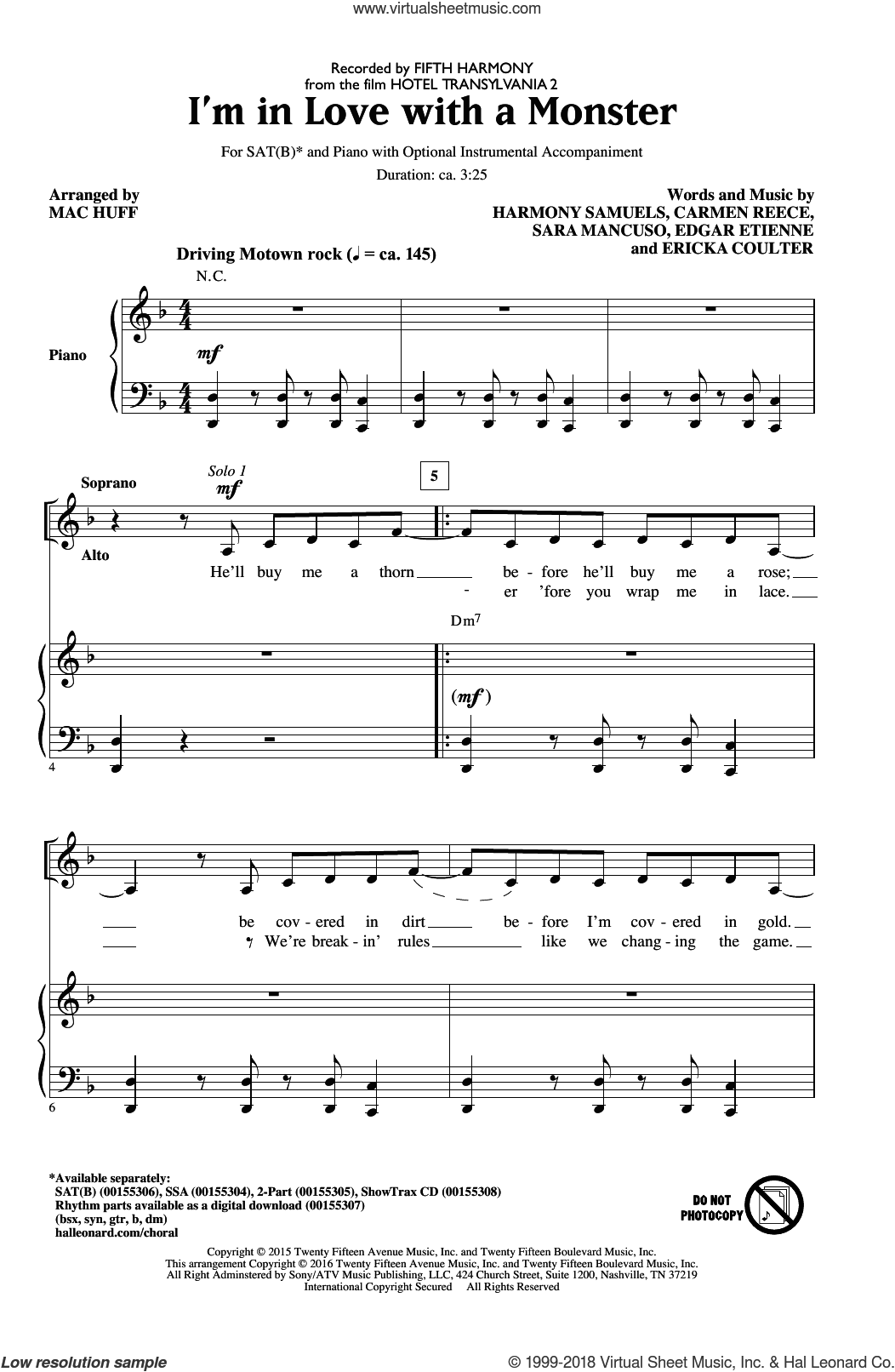 I'm In Love With A Monster sheet music for choir (SATB: soprano, alto, tenor, bass) by Mac Huff, Fifth Harmony, Carmen Reece, Edgar Etienne, Ericka Coulter, Harmony Samuels and Sara Mancuso, intermediate skill level